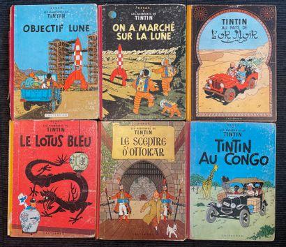 Six bandes-dessinées TINTIN  En l'état