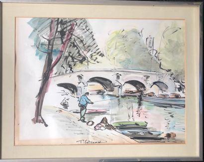 P. PATROUX (XXe)  La Seine avant Notre-Dame,...