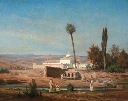 Charles Guillaume BRUN (1825-1908)  Oasis...