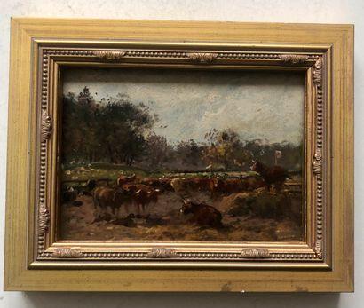 Ecole française, XIXème siècle  Les vaches...