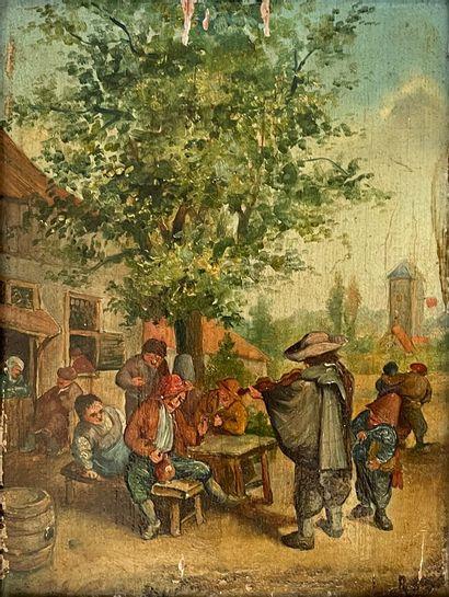 L. RODIV (?)  La fête de village  Huile sur...