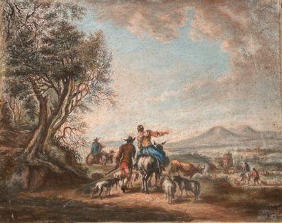 Ecole FRANCAISE, du XIXème siècle, dans le goût de Nicolaes BERCHEM  Scènes pastorales...