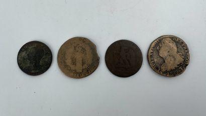 Lot de quatre monnaies anciennes dont rois...