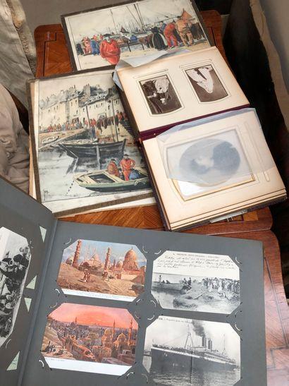 Lot de cartes postales, illustrations et album photo