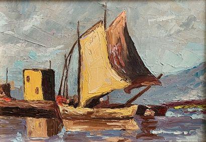 Ecole française, du XXe siècle  Marine  Huile...