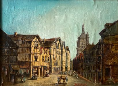DE WYMMER  Village strasbourgeois  Huile,...