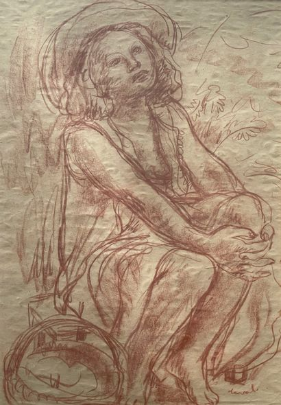 Pierre DEVAL (1897-1993)  Femme pensive  Sanguine...