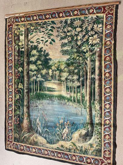 Projet de tapisserie au héron à la bordure...