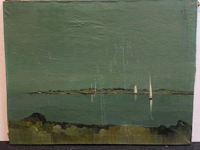 Vue sur mer  Huile sur toile, monogrammée...