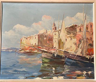 Salomon LE TROPÉZIEN (XX)  Saint Tropez  Huile...