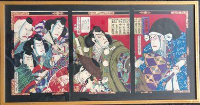 Japon. Estampe, triptyque représentant des...