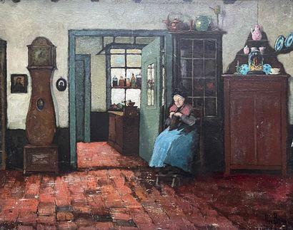 Ecole suédoise, XXe siècle  Dame à son travail...