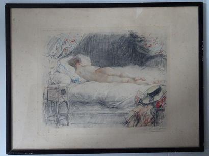 Antoine CALBET (1860-1944)  L'odalisque endormie  Lithographie, signée en bas à...