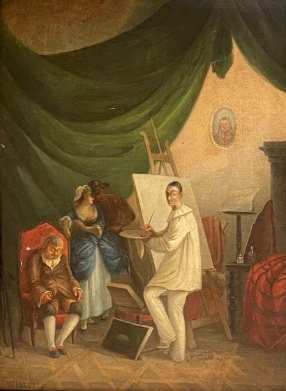 Adolphe ILLETTE (1857-1926)  Le peintre  Huile...