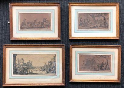 Lot de quatre gravures d'après Jacques Callot...