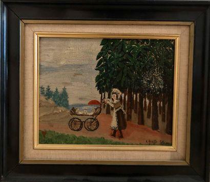 Léon GREFFE (1881-1949)  Femme au landau  Huile sur panneau, signée en bas à droite,...