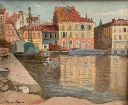 Hélène MARE  Toulon, les quais  Huile sur...