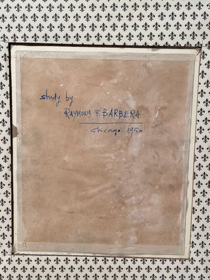 [EROTICA]  BARBERA  Etude, 1950  Aquarelle et encre, située Chicago 1950  27,5 x...