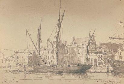 ALBERT LEBOURG (1849-1928)  Voiliers à Rouen...