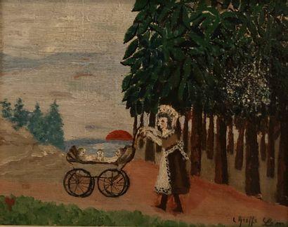 Léon GREFFE (1881-1949)  Femme au landau...