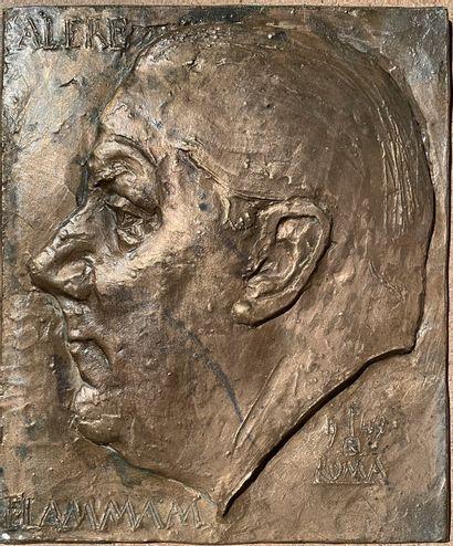 Homme de profil  Bronze  23,5 x 19,5 cm