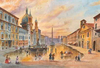 Achille BENOUVILLE (1815-1891)  Rue animée...