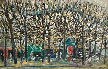 Robert Savary (1920-2000)Place à Paris Huile...