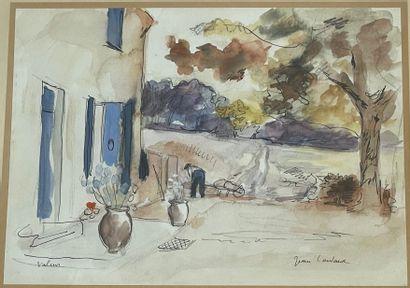 Jean COULARD (?)  Jardinage devant la maison...