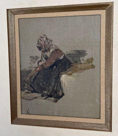 LOUIS APPIAN (1862-1896)  Lavandière  Huile...