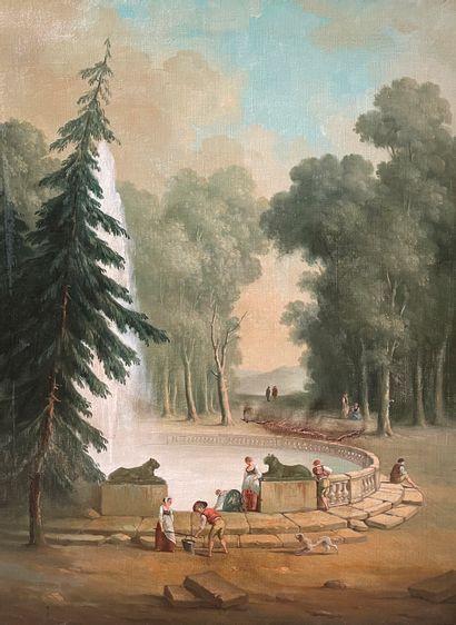 Ecole italienne fin XIXe  La fontaine  Huile...