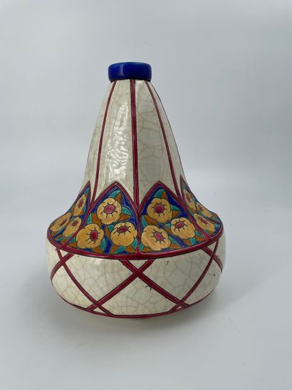 LONGWY  Vase en faïence craquelée à décor...