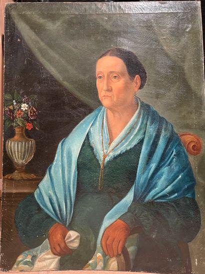 Ecole du XIXème siècle Portrait de femme...