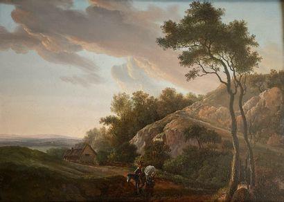 ÉCOLE FRANÇAISE, XIXe siècle  Scène de montagne...