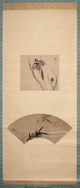 JAPON - XIXE SIÈCLE  Deux encres sur soie...