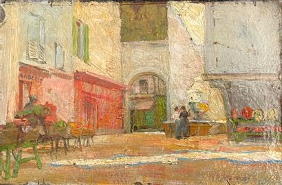 Ecole française, du XXe siècle  Rue animée...