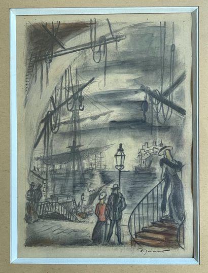 André DIGNIMONT (1891-1965)  Port animée...