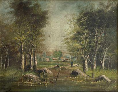 Ecole française du XIXe siècle  Sous-bois...