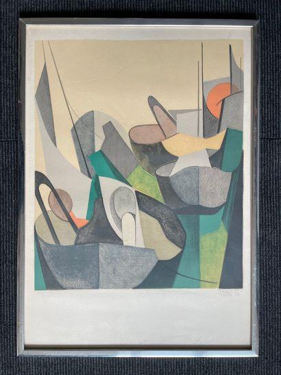 PERRE  Vue de port, 1966  Lithographie, signée...
