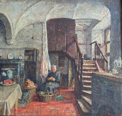 Edouard VAN ESBROECK (1869-1949)  Femme préparant...
