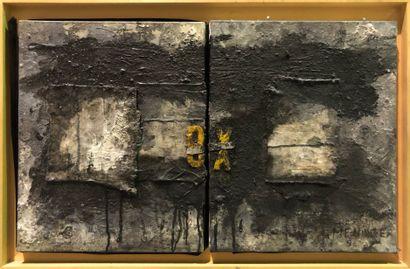 MENAGER Christophe  Huit X  Techniques mixtes et collages sur toile, signées et...