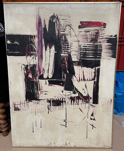 Yves THOMAS  Composition abstraite, 1963...