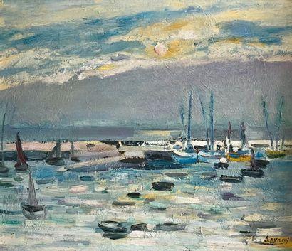 Robert Savary (1920-2000)Soir à Saint GuénoléHuile...