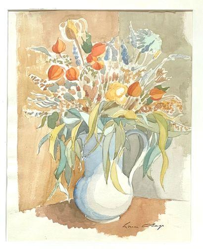 Ecole française, du XXème siècle  Vase fleuri...