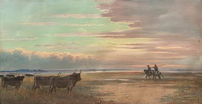 Albert GOUGET (1856-1948)  Camargue  Pastel,...