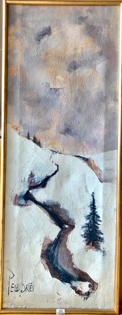BRES-PEGUY (né en 1938)  Paysage de neige...