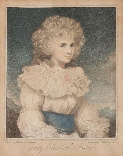 Estampe polychrome représentant Lady Elizabeth...