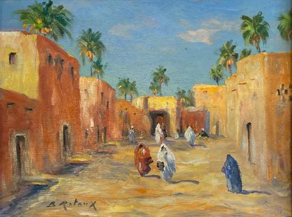 Bruno RETAUX (1947)  Rue animée au Maroc...
