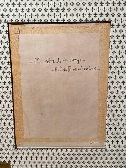 [EROTICA]  A. GAUTSCHI  Les rêves de la vierge  crayonné aquarelle signée et située...