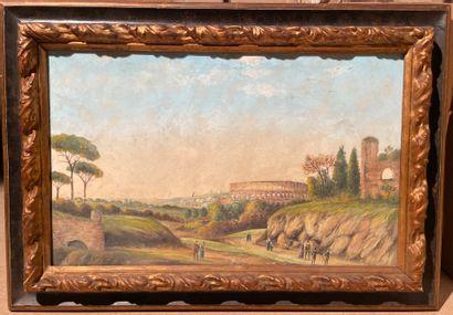 Carlo MONTANI (1868-1936)  Vue sur le Colisée  Gouache, signée et située en bas...