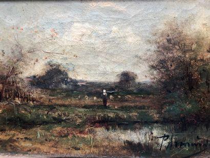 Ecole du XIXe siècle  Femme au champs  Huile...